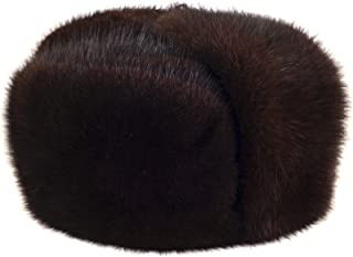 Brown Muskrat Fur Trooper Winter Hat