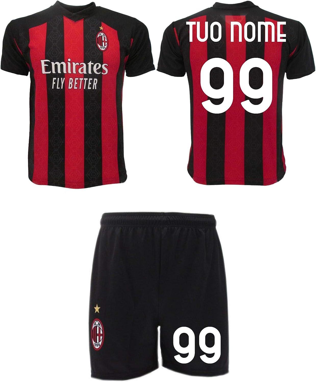 Completo Milan 2021 Personalizzato Ufficiale 2020-2021 Tuo Nome e Numero Maglia Pantaloncini