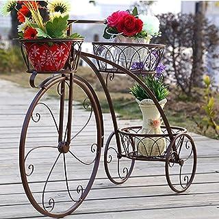 JPVGIA Macetero Soporte De Flor For Bicicletas De Hierro Forjado, Soporte De Maceta For Plantas De 3 Niveles Patio De Jardín Decorativo Moderno Soporte For Exhibición De Bicicletas Pequeñas Con Capaci