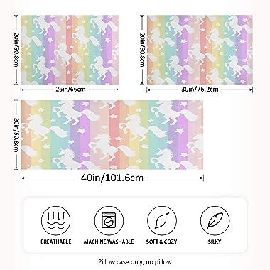 Blueangle Rainbow Unicorn Stripe Satin Pillowcase for Hair and Skin Silk Pillowcase, Standard Size(20x26 inches) - Slip Cooli
