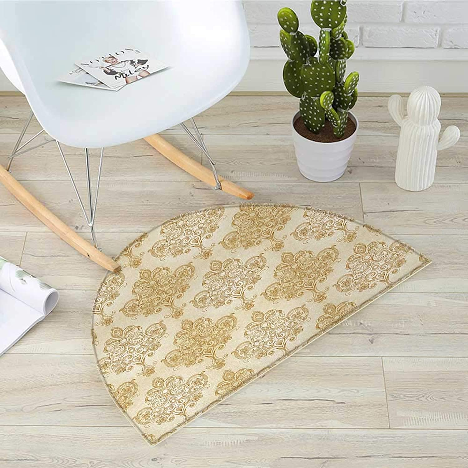 Ivory Half Round Door mats Vintage Baroque Pattern with Curved Flower Lines Rococo Style Ornate Artwork Bathroom Mat H 31.5  xD 47.2  Cream Pale Brown