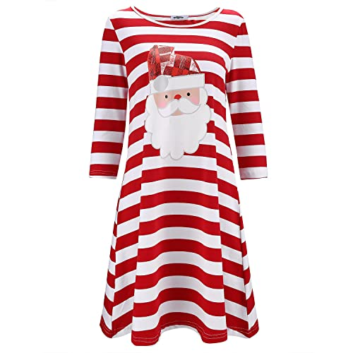 ca87818ce84 STYLEWORD Women's Three Quarter Sleeve Christmas Dress Stripe Elk Casual  Dress