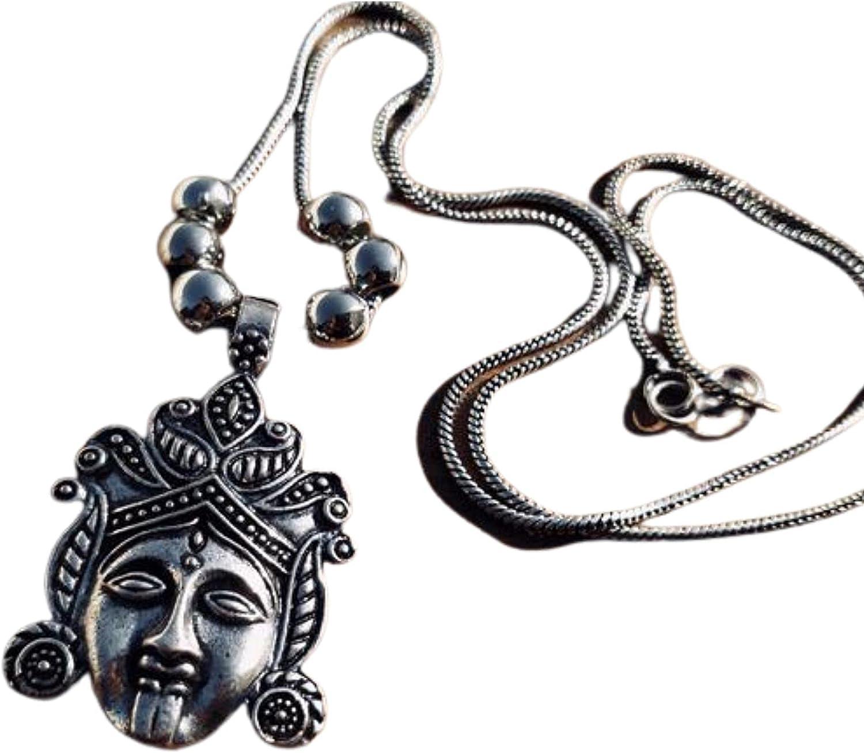 Goddess Kali Pendant, Indian traditional pendant, Oxidized pendant, Boho necklace, Indian God necklace, Mahakali Pendant, Mother's day gift.