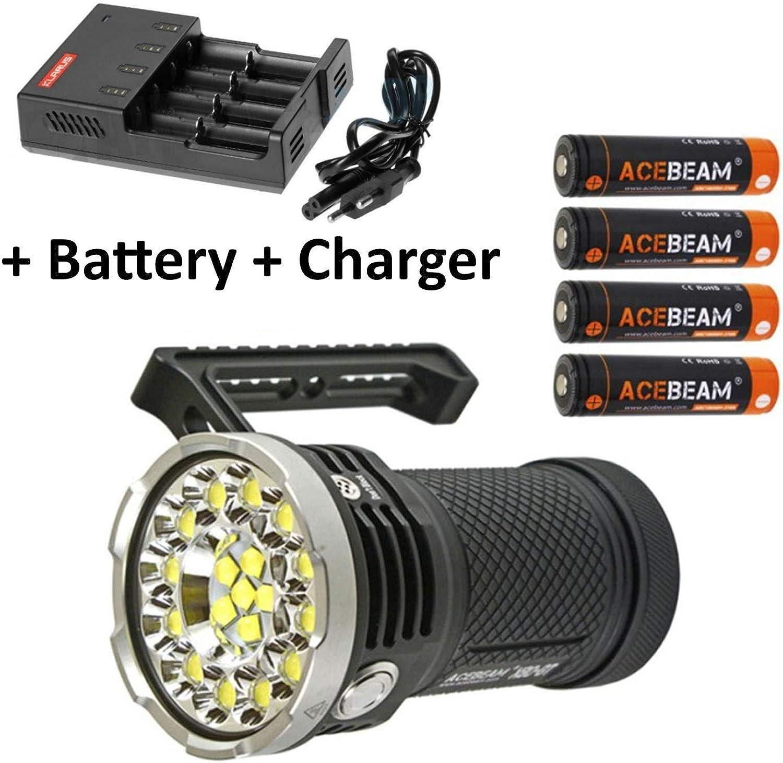 Acebeam X80-GT Flashlight Searchlight -32,500 Lumens -18 x CREE XHP50.2 LED's w 2x Free Eco-Sensa Battery Case