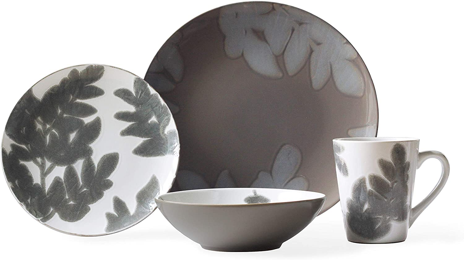 16-PIECE BLOSSOMING FLORAL CERAMIC DINNERWARE SET- DISHES, BOWLS, MUGS, SERVICE FOR 4 Vedure Grey