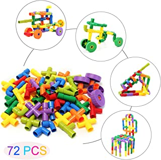 72PCS Pipe Building Set for Pre-Kindergarten Toys , Plastic DIY Educational Construction Blocks with Wheels , Assembling Interlocking Sets Develops Motor Skills for 3, 4 and 5+ Year Old Boys & Girls