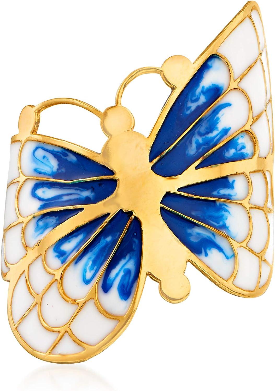 Ross-Simons Italian Blue and White Enamel Butterfly Ring in 14kt Yellow Gold