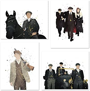 PGbureau Peaky Blinders poster - Inspired Watercolor Wall Art - Set of 4 Decor Painting Paper - Thomas - John -Artur - Shelby- 8x10 P54