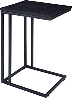 FIVEGIVEN Brownish Black Couch Side Table for Small Spaces Modern C Table for Living Room 22.4 Inch