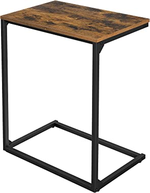 VASAGLE INDESTIC Sofa Side Table, Laptop Table, End Table, Work in Bed or on The Sofa, Simple Structure, Stable, for Living Room, Industrial Style, Rustic Brown and Black ULNT52BX