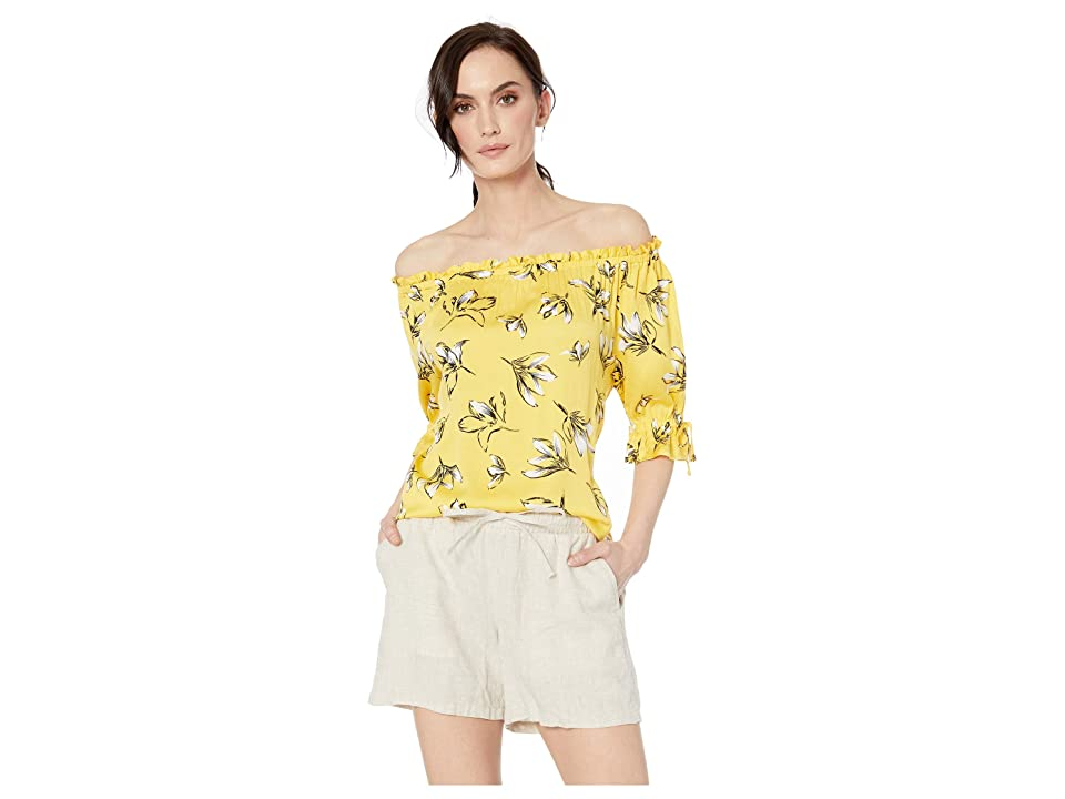 Tribal Printed Stretch Challis On and Off Shoulder Blouse (Citron) Women's Blouse, Yellow