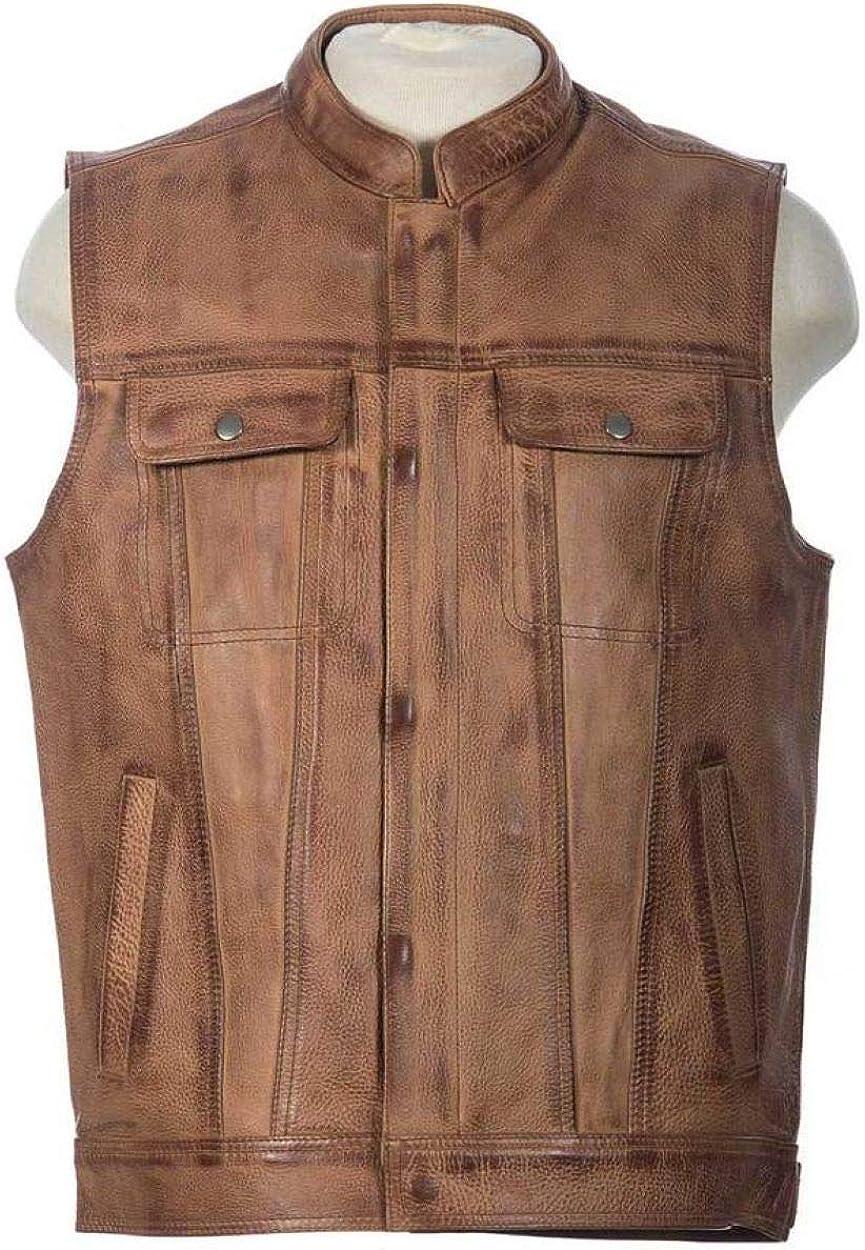 Men's Biker Rocker Rider motorcycle Motorbike Racer Retro Club Genuine Cowhide Leather sleeveless vest By Reclaimed Vintage