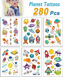 NASA Spaceship Alien Temporary Tattoos for Kids Boys Birthday Party (Pack of 30 Sheets) Waterproof, NASA Party Supplies Children Party Favors