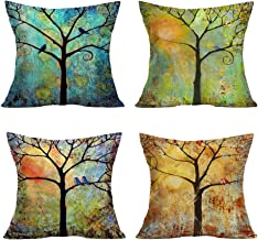 Smilyard Set of 4 Oil Painting Trees Series Pillow Covers Decorative Cotton Linen Square Birds Pattern Throw Pillow Covers Home Decor for Couch Living Room 18X18 Inch