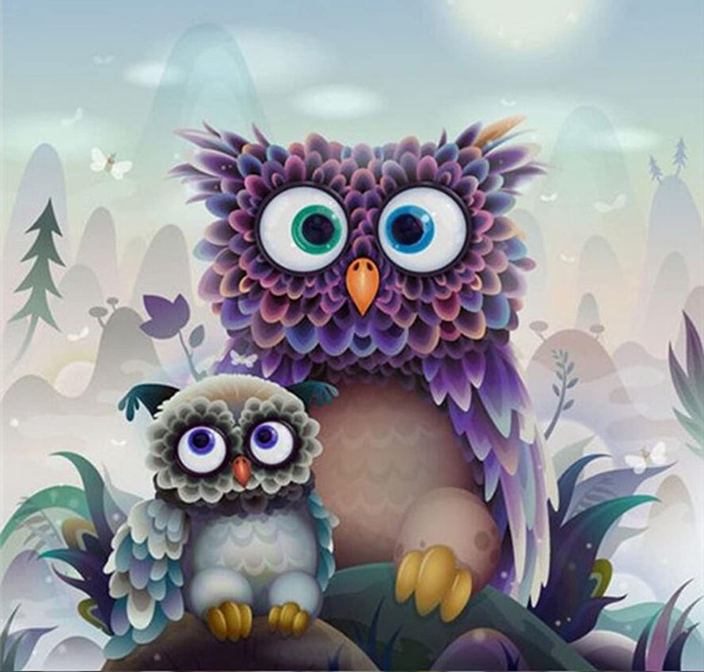 DIY 5D Diamond Painting by Number Kit, Two Owls Crystal Rhinestone Embroidery Cross Stitch Arts Craft Supply Canvas Wall Decor