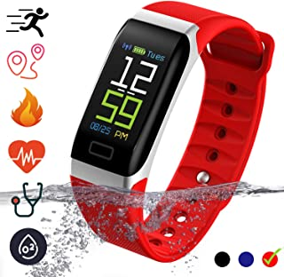 Fitness Tracker Smartwatch - IP68 Waterproof with Pedometer Calorie Counter Heart Rate Monitor Blood Pressure Activity Tracker Smart Bracelet Compatible for iOS & Android Smartphones