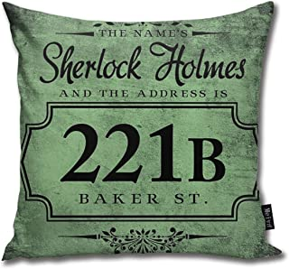 FamilyToy Throw Pillow Cover Case for Bedroom Couch Sofa Home Decor Vintage The Name's Sherlock Holmes Pattern Square 18x18 Inches