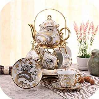 14Pcs/Set Europe High Grade Coffee Cup Set British Afternoon Tea Cup Set Advanced Porcelain Cup And Saucer Pot Shelf Gift Box,B