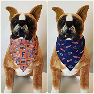 Reversible Bandana, Made With University of Florida Fabric, Gators, Orange, Scarf, Dog, Cat, Pet, Slip On Over The Collar, (Does Not Tie) 2 in one