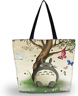 Ladies Zippered Light Shoulder Shopping Tote Bag Handbag Beach Satchel (Cute Totoro)
