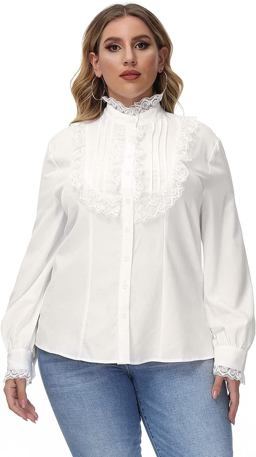 Steampunk Plus Size Clothing & Costumes Victorian Blouse Womens Gothic Lolita Plus Size Long Sleeve Retro Ruffle Steampunk Tops  AT vintagedancer.com