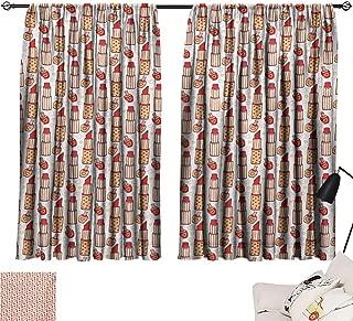 Ediyuneth Tie Up Printed Blackout Curtain Girls,Lipstick Nail Polish Bottles and Hearts Cosmetics Makeup Concept Feminine Glamor,Multicolor 84