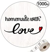 1000 Homedmade with Love Stickers-1.4 inch Wood Grain Round Labels.