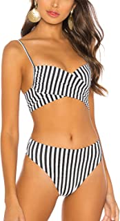 BMJL Women`s High Cut Bikini Set Push Up Striped Bathing Suit Cross Tie Two Piece Swimsuits Swimwear