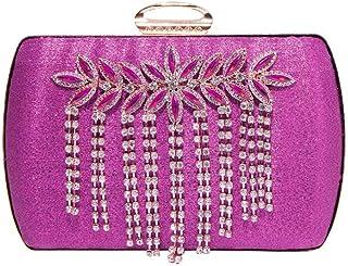 Trendy Ladies Evening Dress Banquet Bag Hand-studded Diamond Bag Ladies Handcuffs Shoulder Bag Fashion Handbag Zgywmz (Color : Purple, Size : 17 * 3.5 * 12cm)