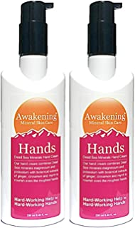 AWAKENING Hands, Magnesium-Rich Hydrating Hand Therapy Cream - Concentrated Minerals of the Dead Sea for Dry, Cracked Skin - Two 250ml/8.5oz (Value Size 500ml total)