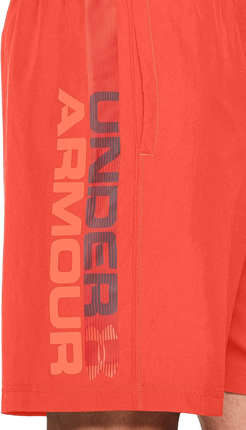 Under Armour Mens Woven Graphic Wordmark Mens Active Shorts Breathable and Modern Mens Gym Wear
