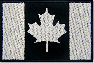Tactical Canada Flag Embroidered Patch Canadian Maple Leaf Embroidered Fastener Hook & Loop Emblem, White & Black