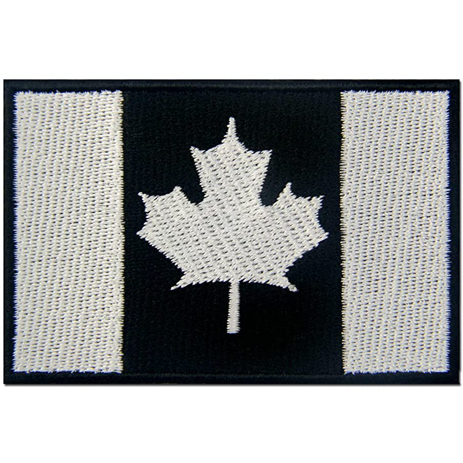 Tactical Canada Flag Embroidered Patch Canadian Maple Leaf Iron On Sew On National Emblem, White & Black