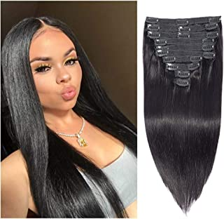 Brazilian Virgin Human Hair Grade 8A Straight Clip In Hair Extensions for Black Women 120g 10Pcs/set for Full Head Thick Double Weft 1B Natural Black Alina Hair (16 inch, Straight)