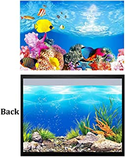 CheeseandU 1Pc Aquarium Background Sticker,3D Ocean Landscape Double-Sided Adhesive Fish Tank Decorative Picture Underwater World Backdrop Coral Fish Under Sea Vinyl Photography Decal(24x12)