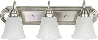 Kingbrite 3 Bulb E26 Vanity Light Bathroom Fixtures, Brushed Nickel, Alabaster Glass,UL Listed