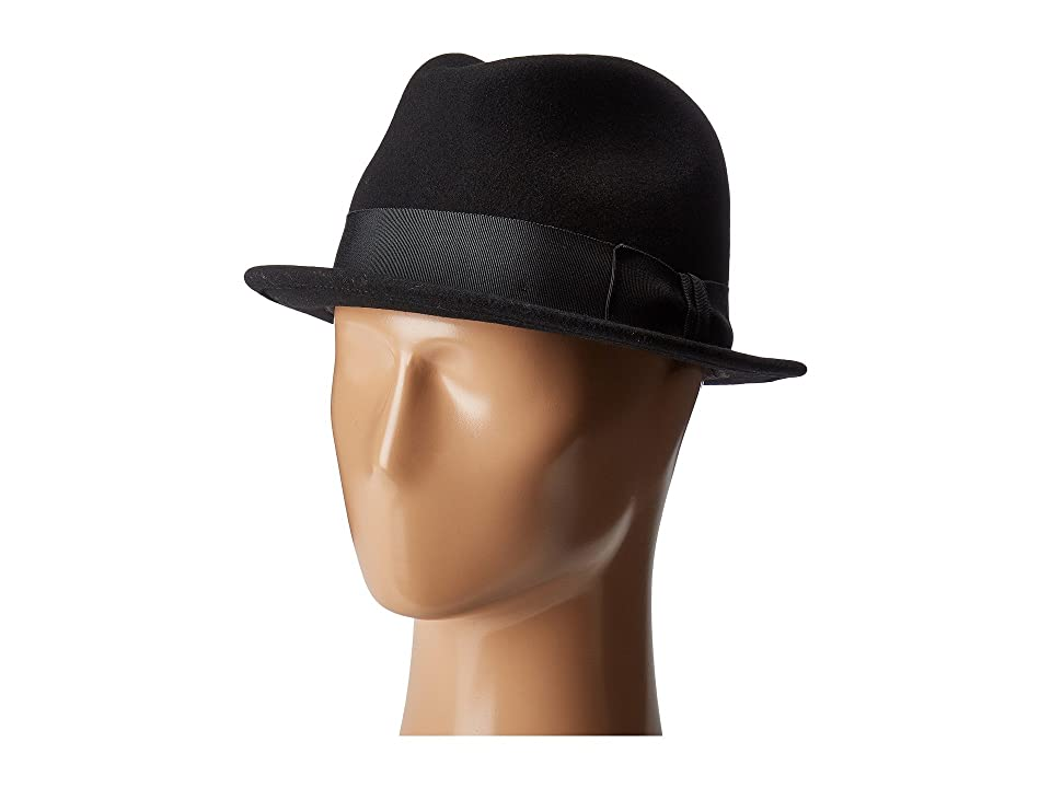Men's Vintage Style Hats Country Gentleman Floyd Traditional Wool Fedora Hat Black Caps $58.00 AT vintagedancer.com