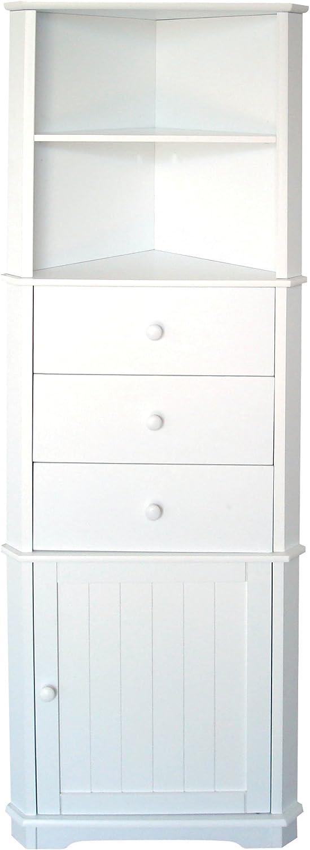 Premier Housewares Eckregal wei, MDF, Holz, 32x55x161