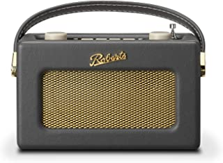 Roberts Revival Uno Retro Portable/Compact DAB/DAB+/FM Digital Radio with Alarm Clock Radio, Charcoal Grey