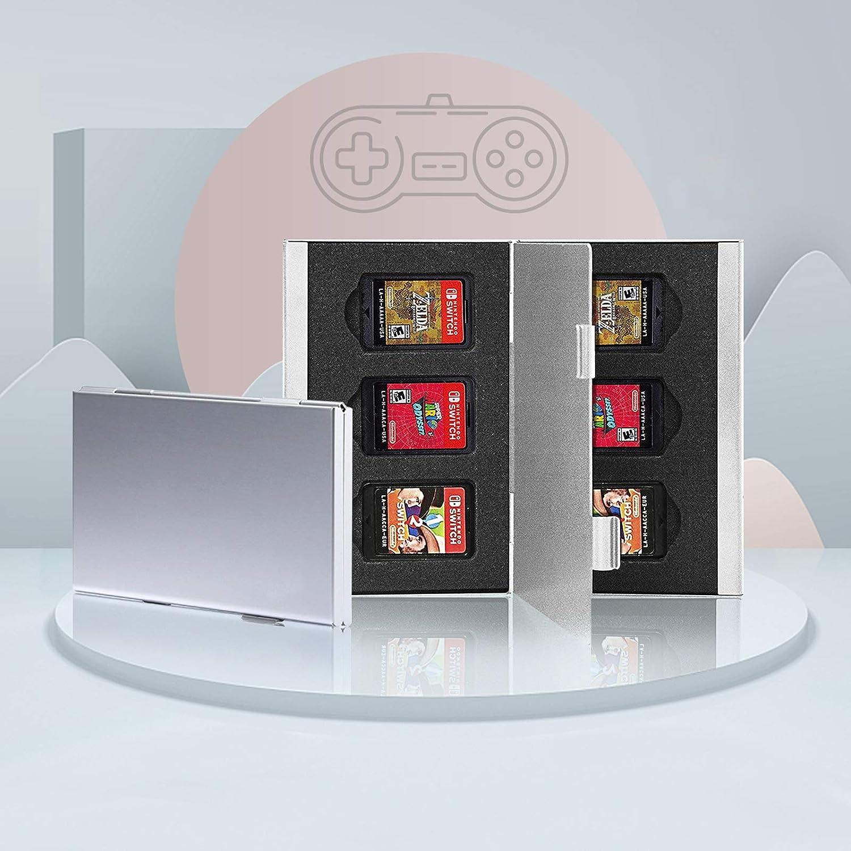 Estuche para Tarjetas de Juego para Nintendo Switch, Caja de Almacenamiento Portátil de Aluminio con 6 Ranuras para Tarjetas de Memoria con Ranura para Tarjeta NS (Nintendo Switch)