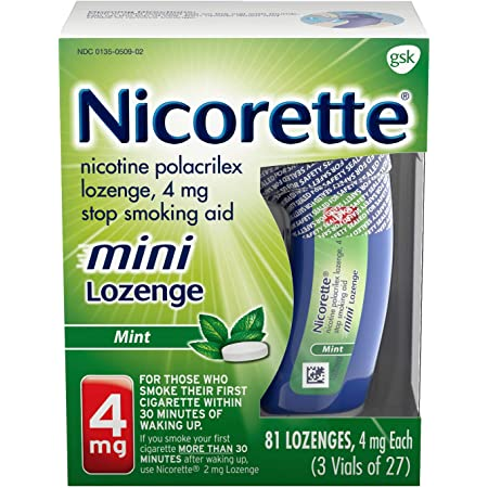 Mini Nicotine Lozenge Stop Smoking Aid, 4 mg, Mint Flavored Smoking Cessation Product, 81 Count