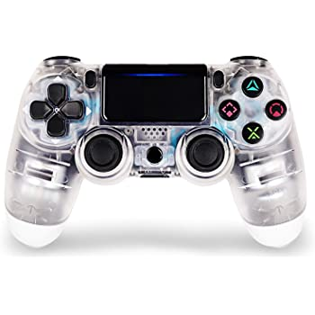 Amazon Com Game Controller For Ps4 Wireless Controller For Playstation 4 With Dual Vibration Game Joystick Transparent White Computers Accessories