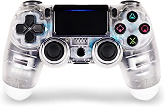 Game Controller for PS4,Wireless Controller for Playstation 4 with Dual Vibration Game Joystick (Transparent White)