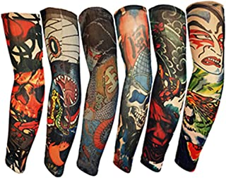 Efivs Arts Samurai Style Temporary Tattoo Sleeves Fake Tattoo Temporary Tattoo Arm Stockings, 6 Pcs