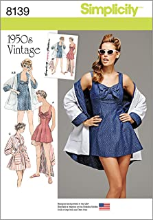 Simplicity 8139 1950's Vintage Fashion Women's Bathing Dress and Beach Coat Sewing Pattern, Sizes 14-22
