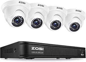 ZOSI 8-Channel HD-TVI 720P Video Security Camera System,1080N Surveillance DVR Recorder and (4) 1.0MP 720P(1280TVL) Weathe...