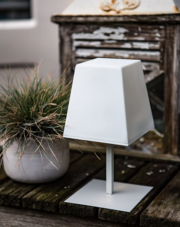 LED Solar Tischlampe Auenlampe Gacoli Manhattan No.1 Table Weiß IP44
