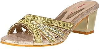 Khadim's Synthetic Neolite Sole Ethnic Gold Decorative Sandal For Women