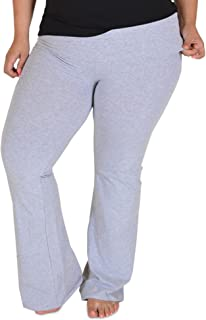 Stretch Is Comfort Women's Foldover Plus Size Color Yoga Pants Heather Gray XXX-Large