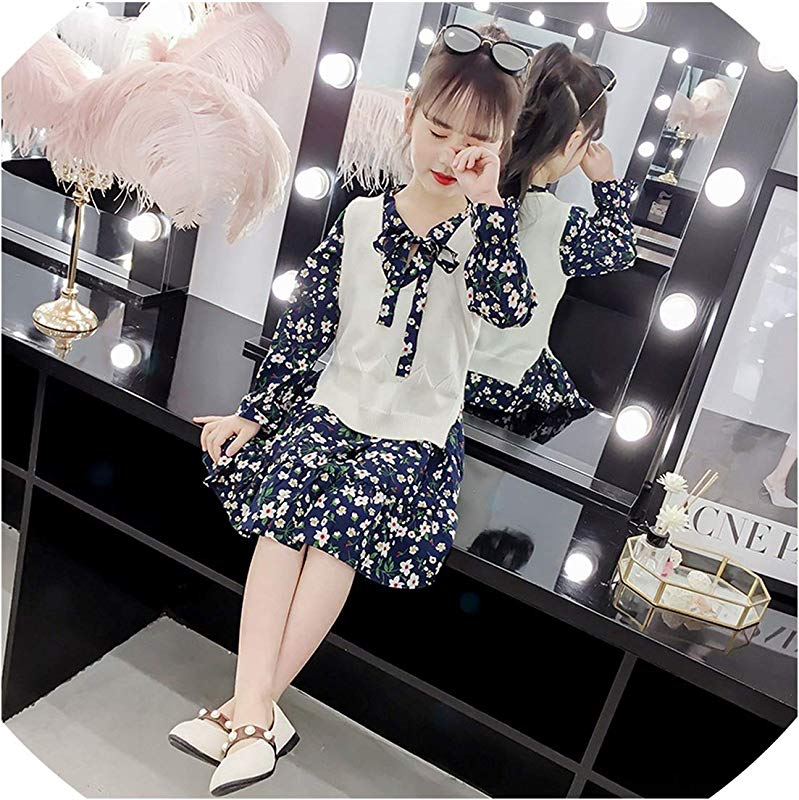 3 12 Yrs Baby Girls Long Sleeve Dress Knit Vest Dress Print 2 Piece Sets Children Dresses 2019 New Winter Spring Kids Costume Black 6